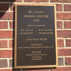 Mount Juliet Animal Shelter Plaque